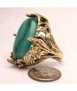 Handmade 14kt Gold Green/White Sardonyx Massive... - $2,797.56