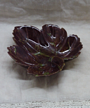 Vintage Brown Green Speckled Leaf Shaped Candy Dish / Decorative Pottery... - $5.00