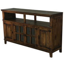 "60"" Medio TV Stand Rustic Western Console Glass Doors Solid Wood Dark Walnut - $673.19"