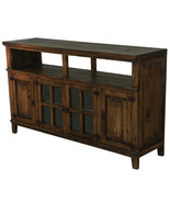 "60"" Medio TV Stand Rustic Western Console Glass Doors Solid Wood Dark Wa... - $673.19"