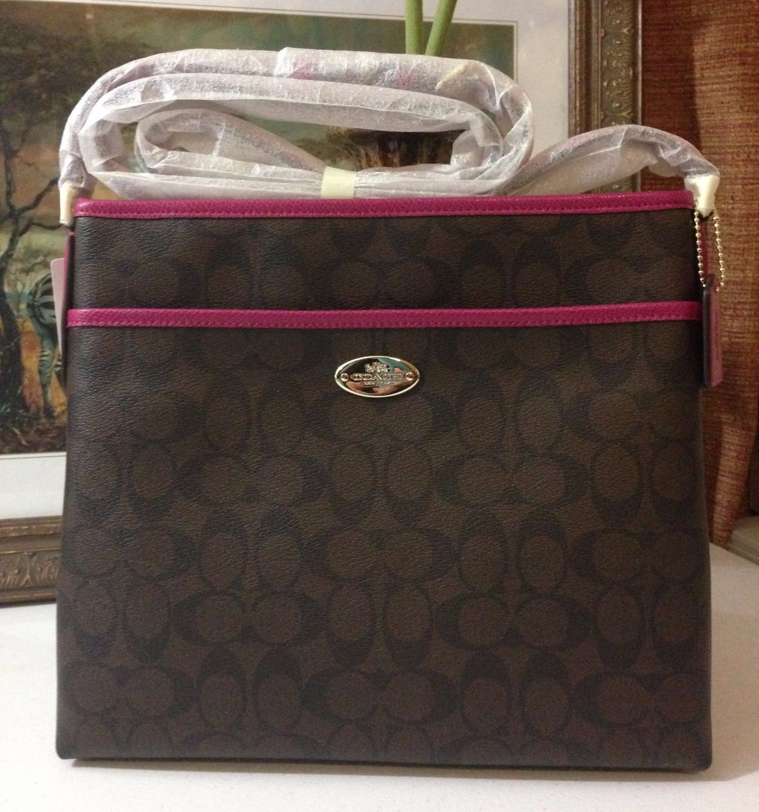 NWT COACH SIGNATURE FILE BAG IM/BROWN/CRANBERRY F34938