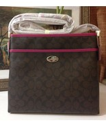 NWT COACH SIGNATURE FILE BAG IM/BROWN/CRANBERRY... - $167.39
