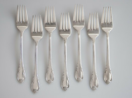 Rogers Remembrance salad forks 7  silverplate vintage 1847 Rogers Intern... - $17.81