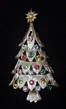Vintage Christmas Tree Pin Brooch Multi-color Rhinestones - $24.95