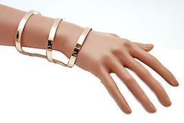 Women Gold Bracelet Metal Fashion Jewelry Wrap Round Geometric Shapes 3 Stripes - $13.71