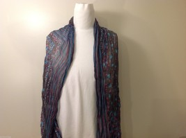Gray Based, Multi-colored Patterned Crinkle Scarf, New!