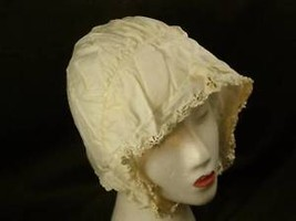 Vintage girls white bonnet floral edging w eyelets