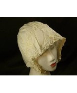 Vintage girls white bonnet floral edging w eyelets - $74.24
