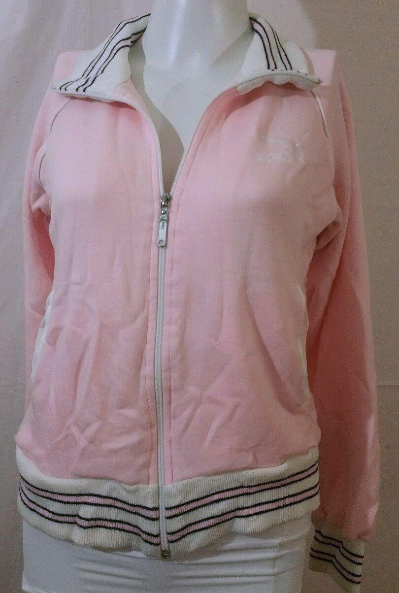 9a840530 Women's Puma Sport Pink White zip Sweatshirt s small zipper piped