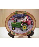 Santa on John Deere Tractor w/Bag Mary Moo Moos  2000 dated Plate Enesco - $23.36