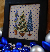 Tree Trio christmas holiday winter cross stitch chart Turquoise Graphics - $9.00