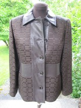 Linda Allard Ellen Tracy Elegant Brown Blazer With Leather Trim Sz 8 - $54.95