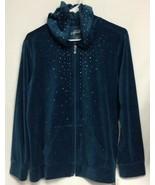 Style & Co Sport Womens OX  Velour Jacket Hoody Stretchy Greenish - $9.89