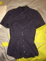 Bcbg Maxazria Sexy Blouse Dusty Blue Button Front Shirt Back Tie Xs - $27.99