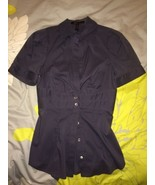 BCBG MAXAZRIA SEXY BLOUSE DUSTY BLUE BUTTON FRO... - $33.99