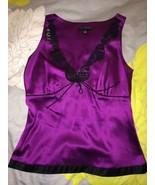 Banana Republic Royal Purple Silk Black Lace Ca... - $19.99