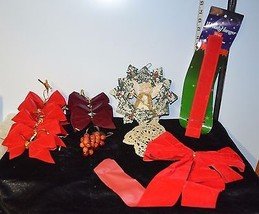 Lot of 7 Christmas Decorations Red Bows,Metal Angel Star Ornament, Wreat... - $8.62