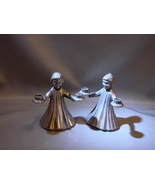 Pair Angel Candle Holder Vintage Pewter Figurine Italy Small Italian Tap... - $21.99