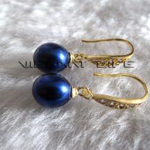 8.0*9.5mm Navy Freshwater Pearl Dangle Earrings D6SH Half Silver Jewelry - $9.86