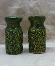 Vintage Green Wild Flower Embossed Salt & Pepper Shakers - $9.00