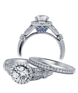 14k White Gold Finished White & Blue Diamond Engagement Wedding Bridal R... - $75.99