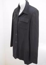 Ann Taylor Loft 8 Jacket Black Wool Pinstripe Blazer Textured Pockets - $21.54