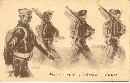 Primary image for Hut Tew Three Four Military artist Davis World War 1941 vintage Post Card