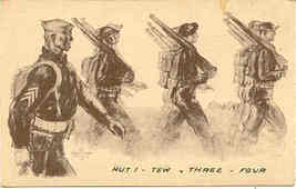 Hut Tew Three Four Military artist Davis World War 1941 vintage Post Card  - $7.00