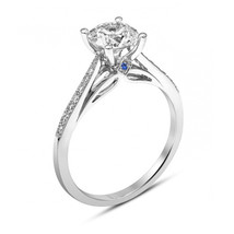 Gorgeous White Diamond Sterling Silver Solitaire With Accents Ring 14k W... - £49.77 GBP