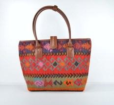kilim bag rug bag leather bag tote Leather Briefcase ladies purse  Shoul... - $240.00