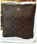 NWT COACH SIGNATURE NORTH/SOUTH CROSSBODY BAG F35940 IM//BROWN/BLACK $195 - $159.00