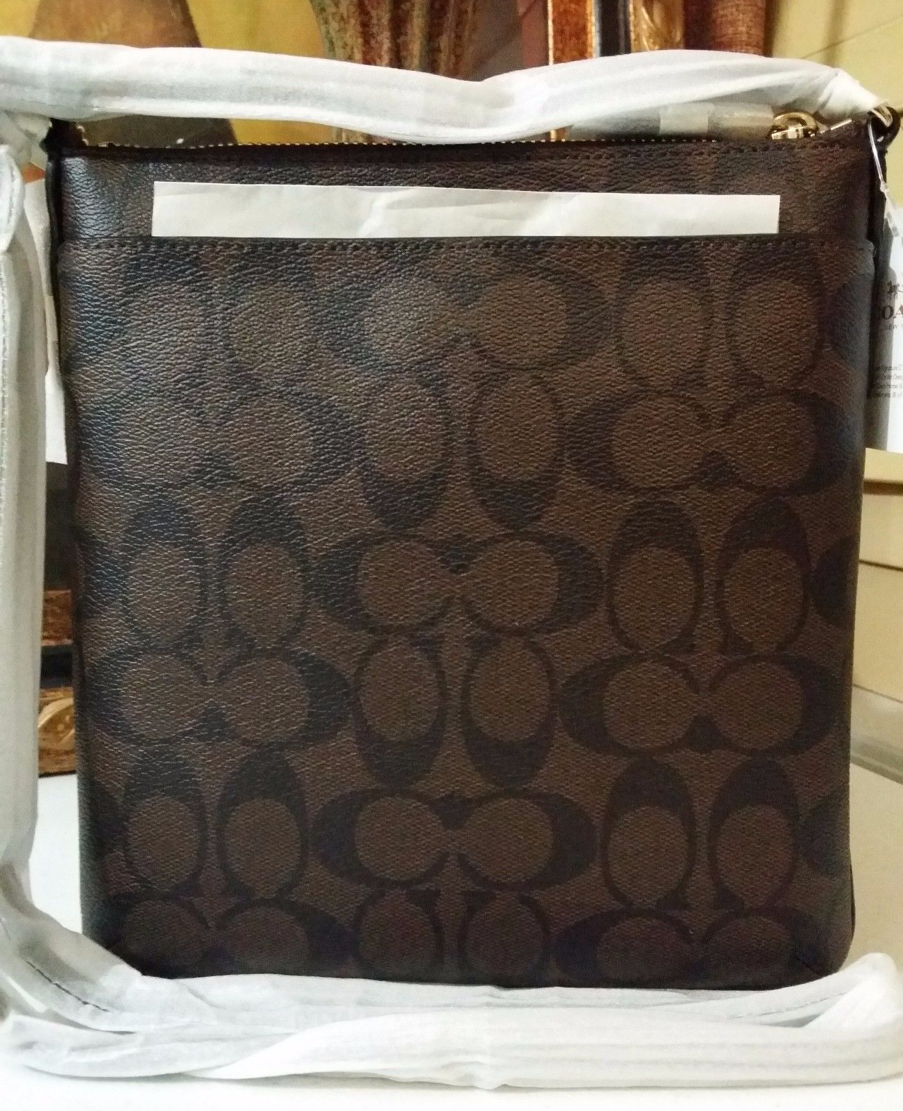 NWT COACH SIGNATURE NORTH/SOUTH CROSSBODY BAG F35940 IM//BROWN/BLACK $195