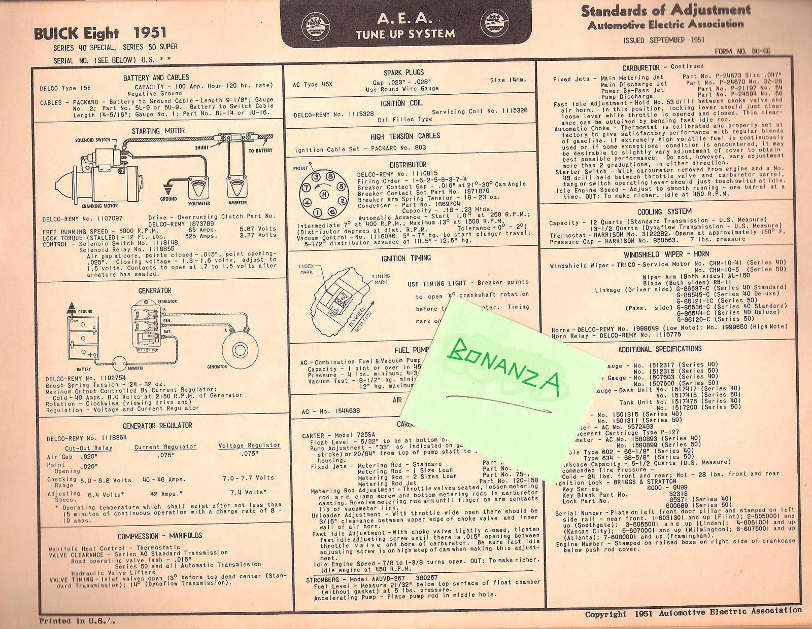 1951 AEA Tune-up Chart Buick Eight Series 40 Special & 50 Super w Wiring  Diagram