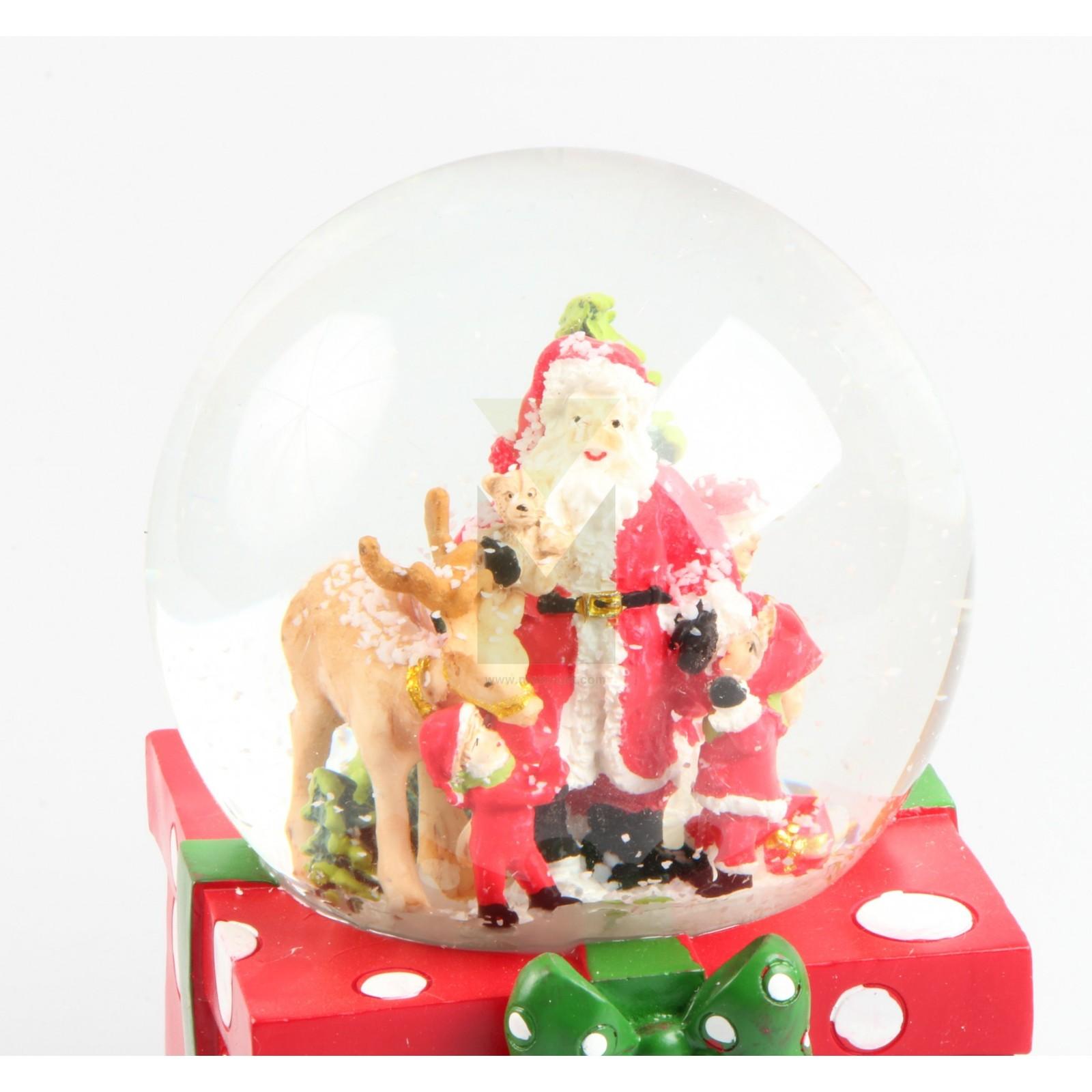 Santa claus new year music snow globe christmas poly model