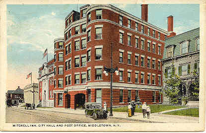 Primary image for Mitchell Inn and City Hall Middletown Orange County New York1921 Post Card