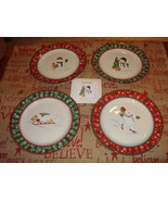 Longaberger Christmas Holiday Snowman Snack Plates Set Of 4 - $43.49
