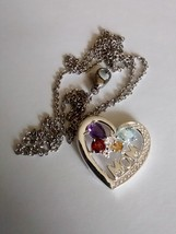 beautiful multi-gemstone mom heart and butterfly pendant and chain - $69.95