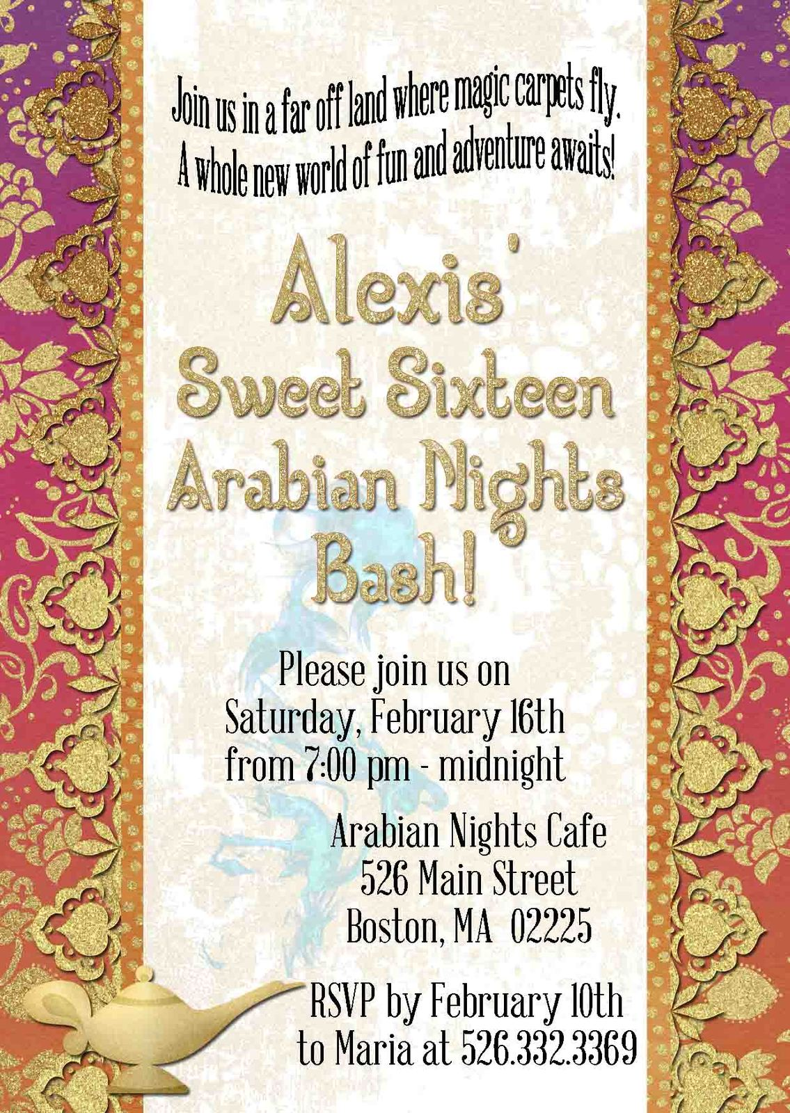 Arabian Nights Invitation, Sweet Sixteen, and 50 similar items