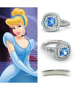 14K White Gold Finish .925 Mulit-Color Stone Diseny Cinderella Engagemen... - $139.99
