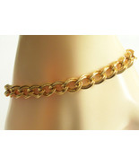 MONET Gold Plated Chain Double Look Curb Link Chain Bracelet Textured Vi... - $17.81