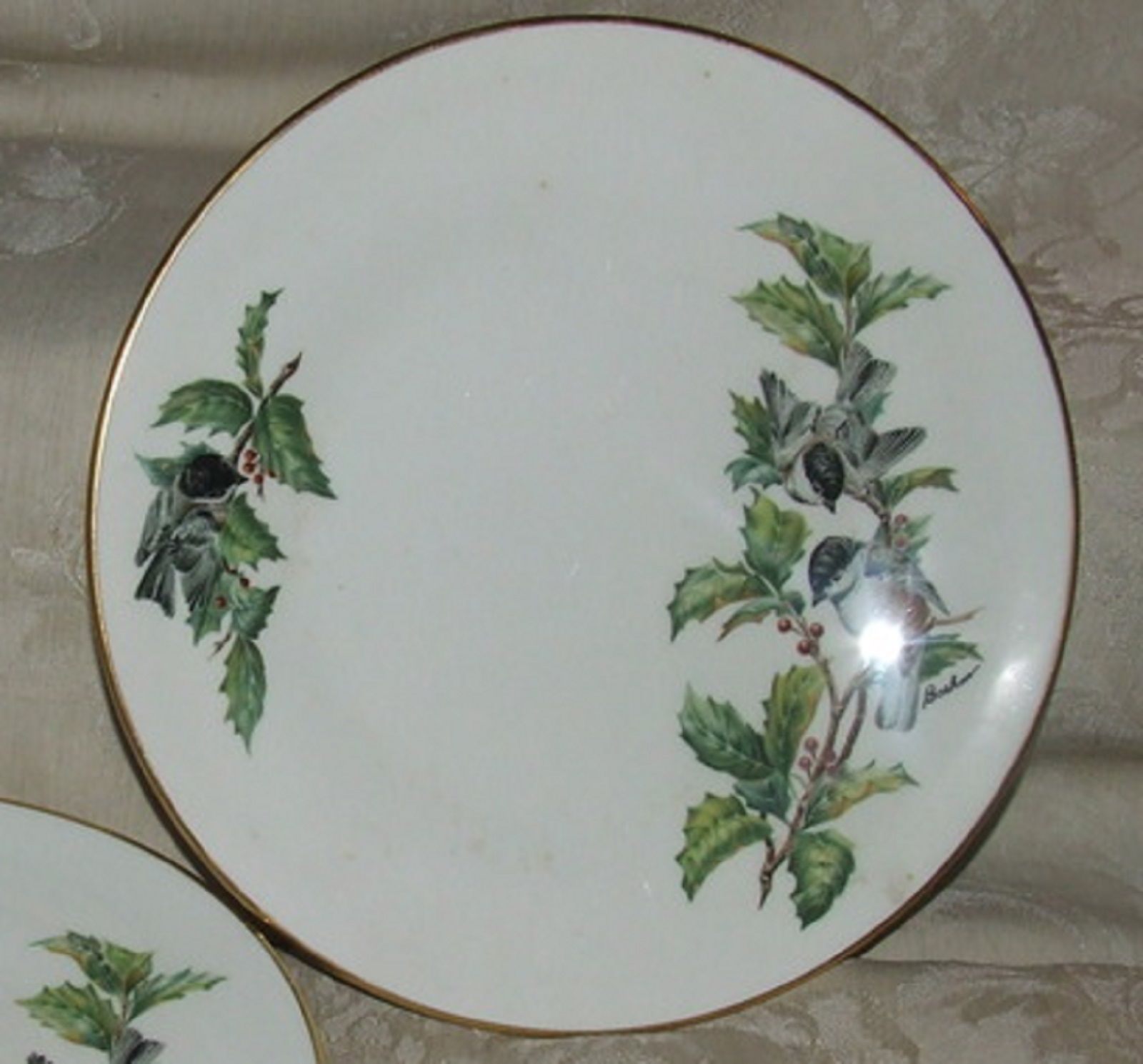 "Primary image for 1976+ BOEHM Chickadee and Holly 8 1/2"" SALAD Plate Contour Two Available SCARCE"