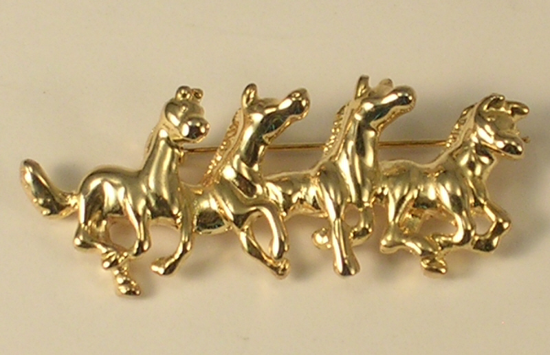 Primary image for Gold Colored Metal 4 Galloping Horses Brooch or Pin