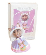 Hallmark Springtime Bonnets Series Easter Ornament Rabbit In Dress Pink Purple - $4.95