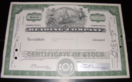 1967 Reading Company Stock Certificate - $14.00
