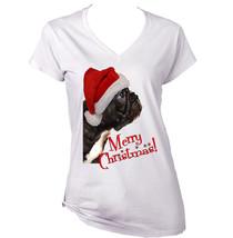 Merry Christmas Black French Bulldog Puppy 1   New White Cotton Lady Tshirt - $22.26