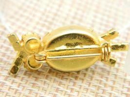 Green Agate Rhinestone Owl Gold Tone Pin Brooch Vintage image 4