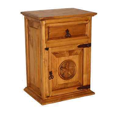 Rustic Nightstand with Star Rustic Western Real Solid Wood Lodge Cabin