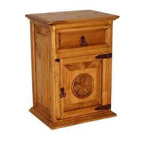 Rustic Nightstand with Star Rustic Western Real Solid Wood Lodge Cabin - $227.70
