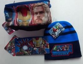 Avengers Lunch Bag Insulated Marvel Beanie Hat W Pencil Pouch School Bun... - $35.79