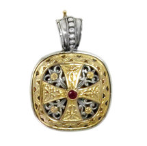 Gerochristo 3316 -Solid Gold, Silver & Ruby - Medieval-Byzantine Cross P... - $800.00